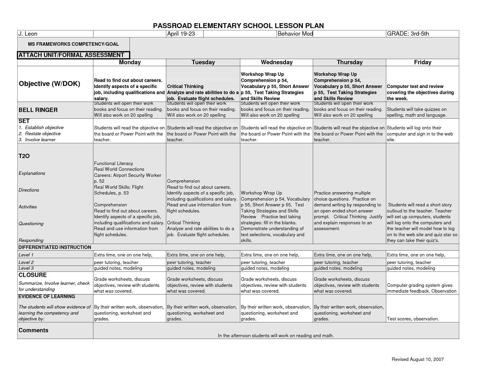 Lesson Plans Template Elementary 12 Best Of Elementary Art History Worksheets Art