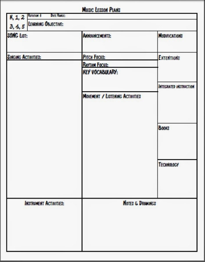 Lesson Plans Template Elementary Melodysoup Blog Music Lesson Plan Template