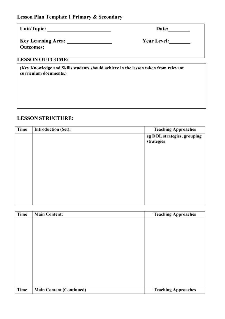 Lesson Plans Templates Free 44 Free Lesson Plan Templates [ Mon Core Preschool Weekly]