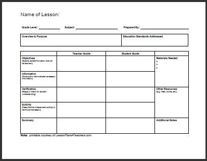 Lesson Plans Templates Free All Templates Daily Lesson Plan Template