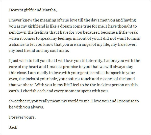 Letter for Your Girlfriend 10 Love Letters for Girlfriend Word