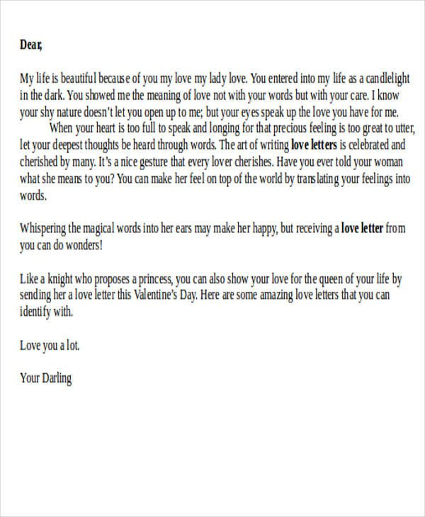 Letter for Your Girlfriend Love Letter Examples