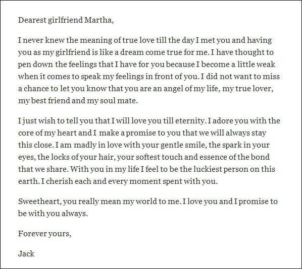 Letter for Your Girlfriend Love Letters for Girlfriend – Sampleloveletter