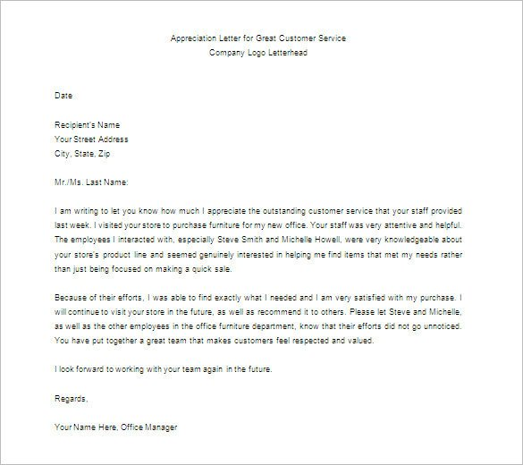 Letter Of Appreciation Templates 11 Thank You Letter for Appreciation Pdf Doc