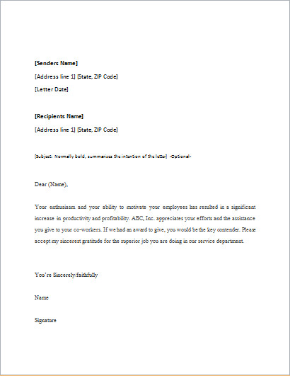 Letter Of Appreciation Templates Appreciation Letter Template for Word