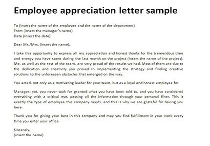 Letter Of Appreciation Templates Employee Appreciation Letter Sample
