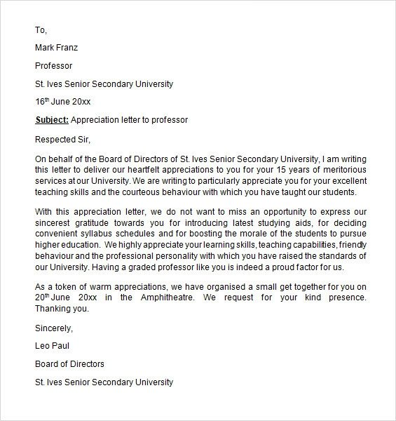 Letter Of Appreciation Templates Sample Appreciation Letter 8 Free Documents Download In