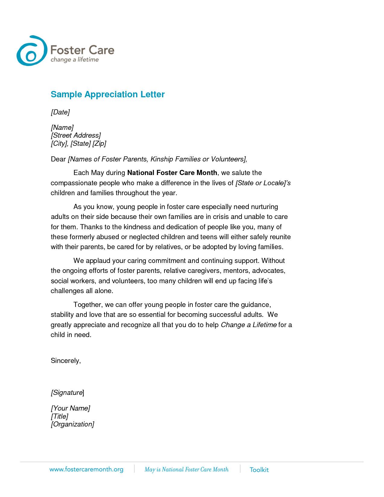 Letter Of Appreciation Templates Volunteer Appreciation Letter Sample