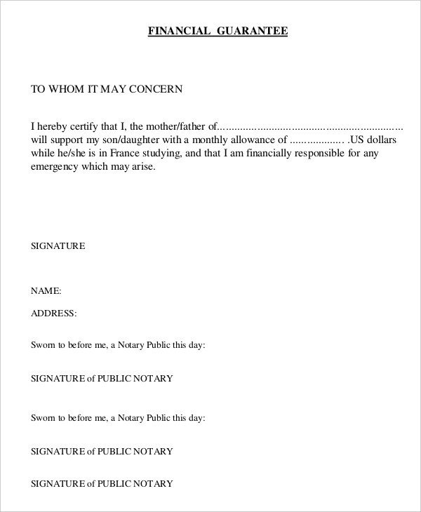 Letter Of Guarantee Sample 18 Sample Letters Of Guarantee Pdf Word Apple Pages