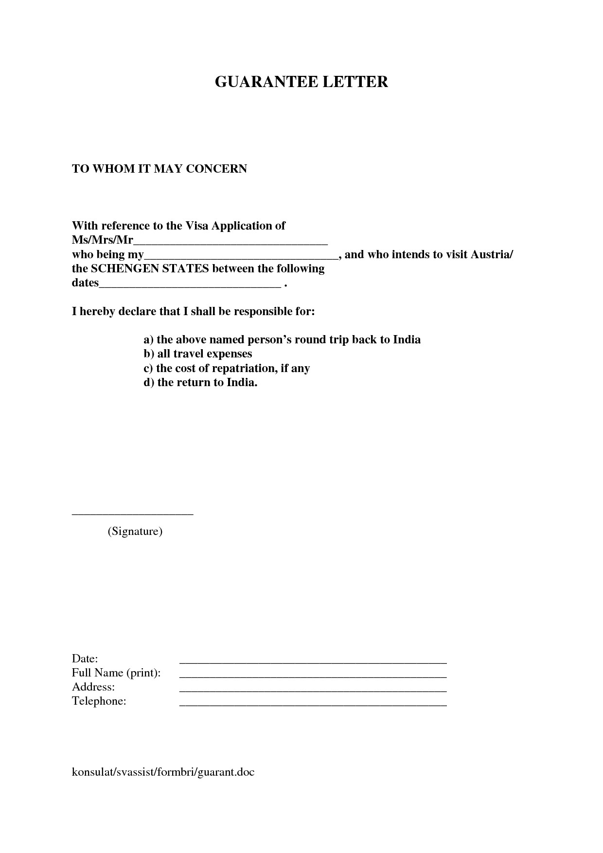 Letter Of Guarantee Sample Letter Financial Guarantee Letter for Visa Sample
