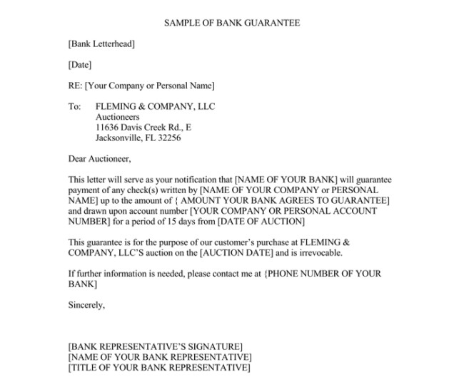 Letter Of Guarantee Sample Letter Of Guarantee 10 Samples for Word and Pdf