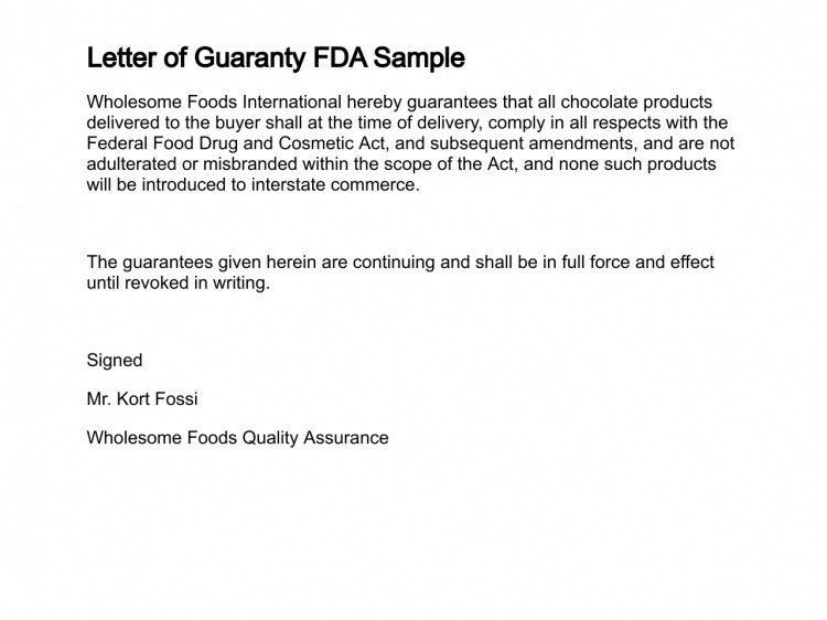 Letter Of Guarantee Sample Letter Of Guaranty