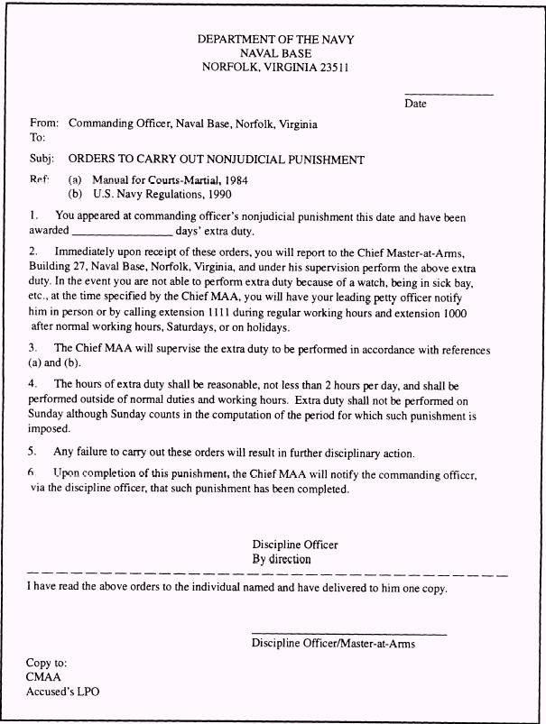 Letter Of Instruction Samples Njp for Ficers