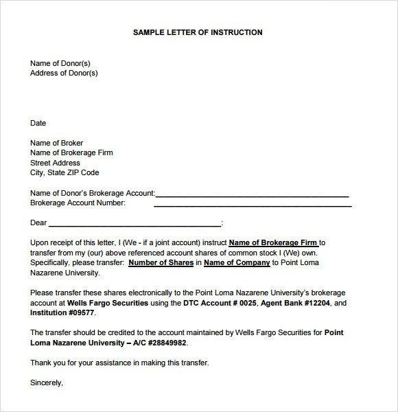 Letter Of Instruction Samples Sample Instruction 7 Documents In Pdf