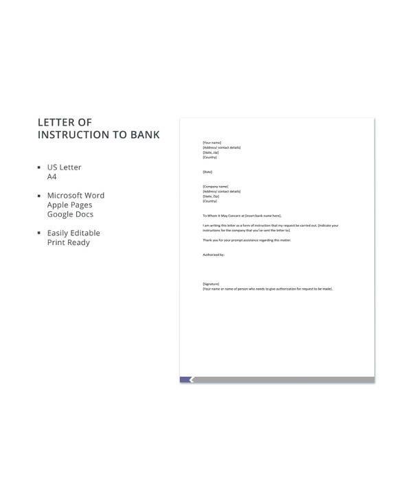 Letter Of Instructions Sample 13 Sample Letter Of Instruction Templates Pdf Doc