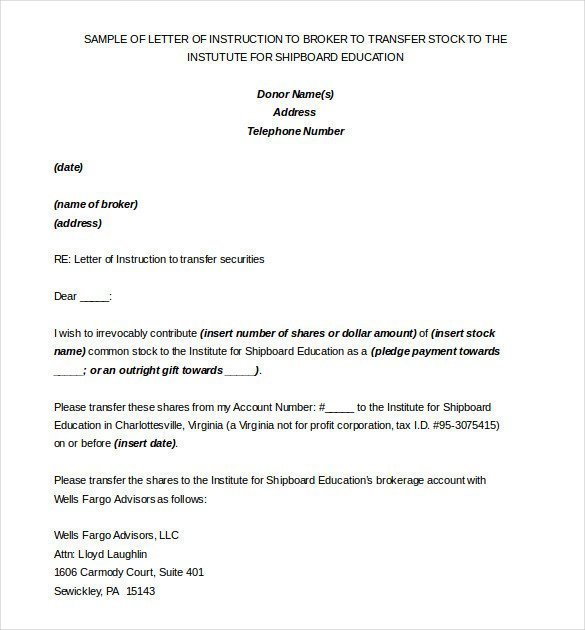Letter Of Instructions Sample 6 Instruction Templates Doc Pdf Excel
