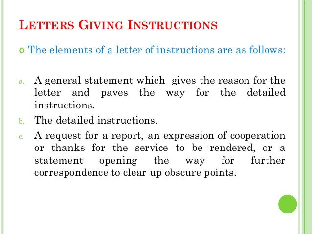 Letter Of Instructions Sample Business Letters