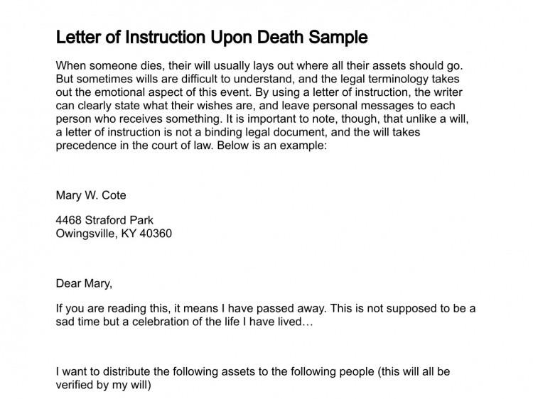 Letter Of Instructions Sample Letter Of Instruction