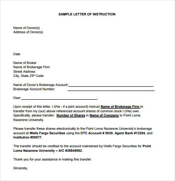 Letter Of Instructions Sample Sample Instruction 7 Documents In Pdf