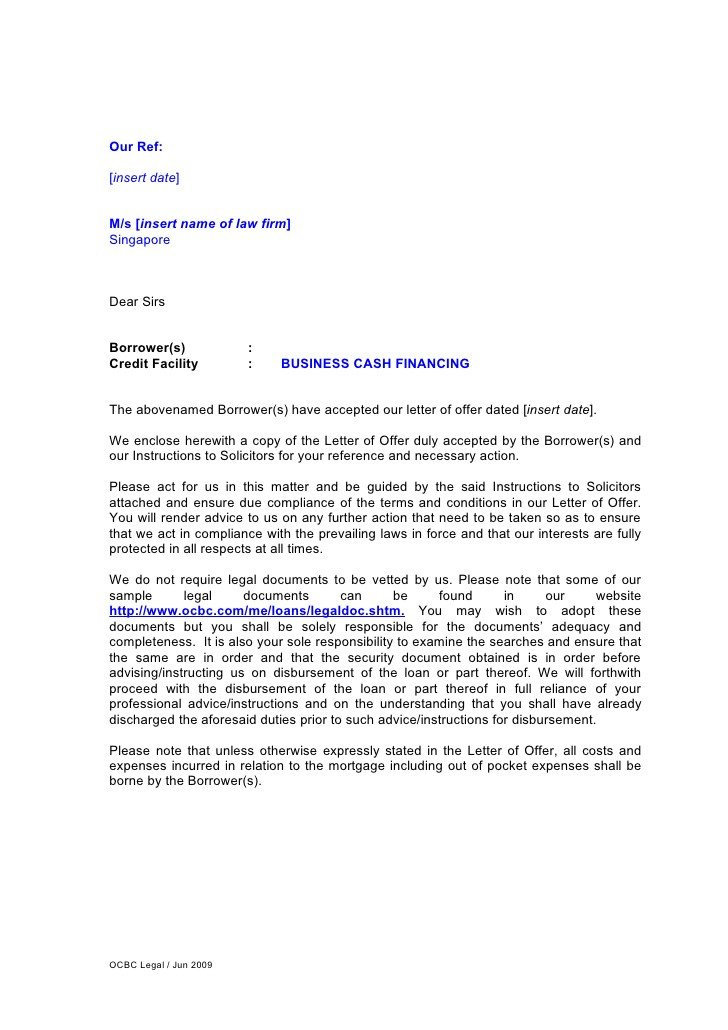 Letter Of Instructions Template Letter Of Instruction for Business Cash Financing