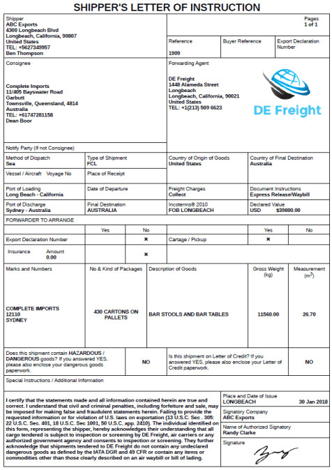 Letter Of Instructions Template Shipper S Letters Of Instruction to A Freight forwarder