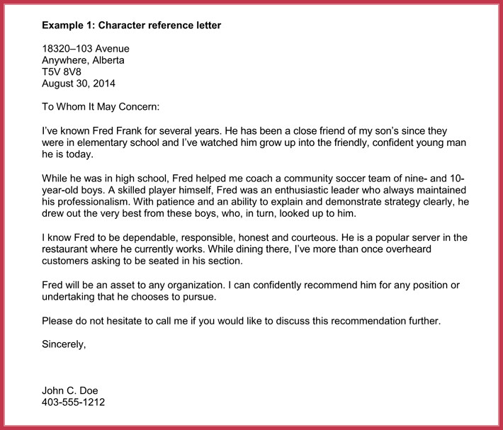 Letter Of Recommendation Immigration Immigration Reference Letters 7 Samples formats and