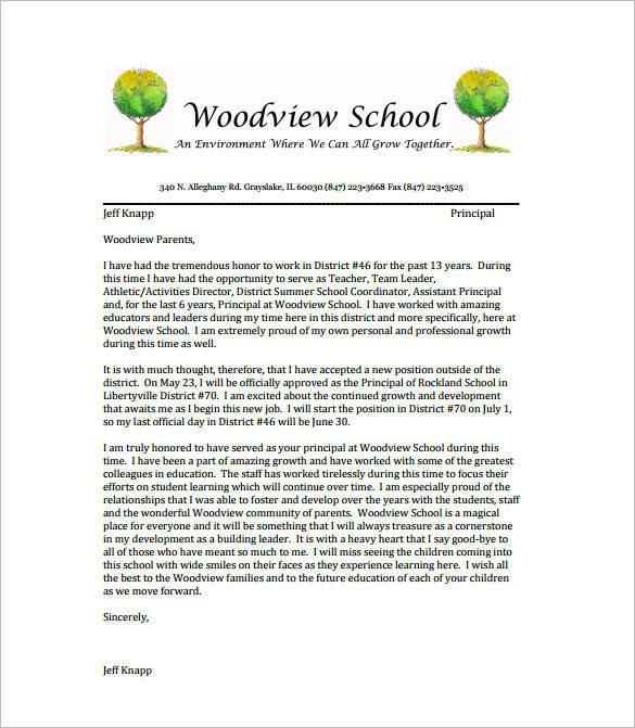 Letter Of Resignation Teacher Free 14 School Resignation Letter Samples & Templates In