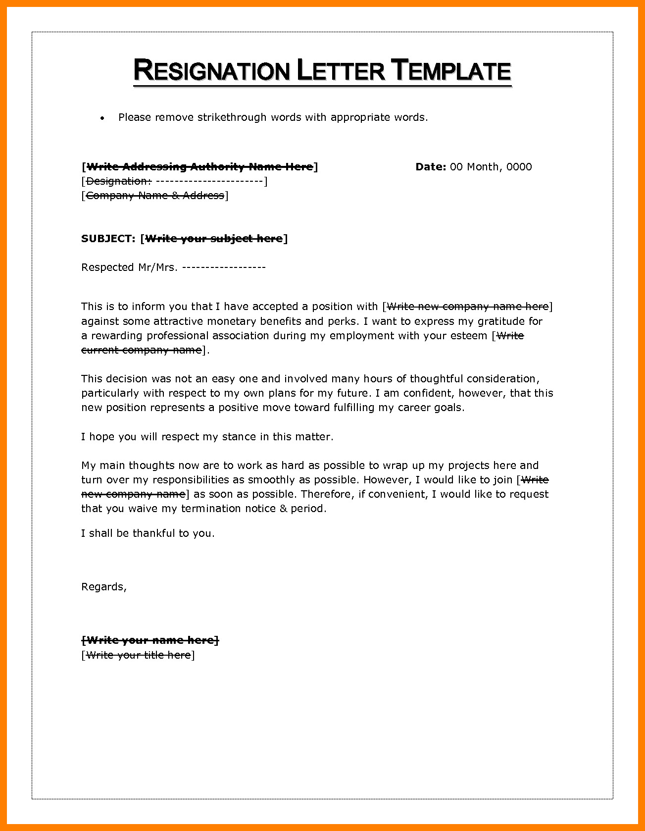 Letter Of Resignation Template Word 10 Letter Of Resignation Word Template