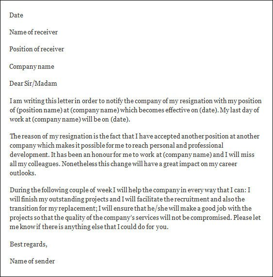 Letter Of Resignation Template Word formal Resignation Letter 40 Download Free Documents In