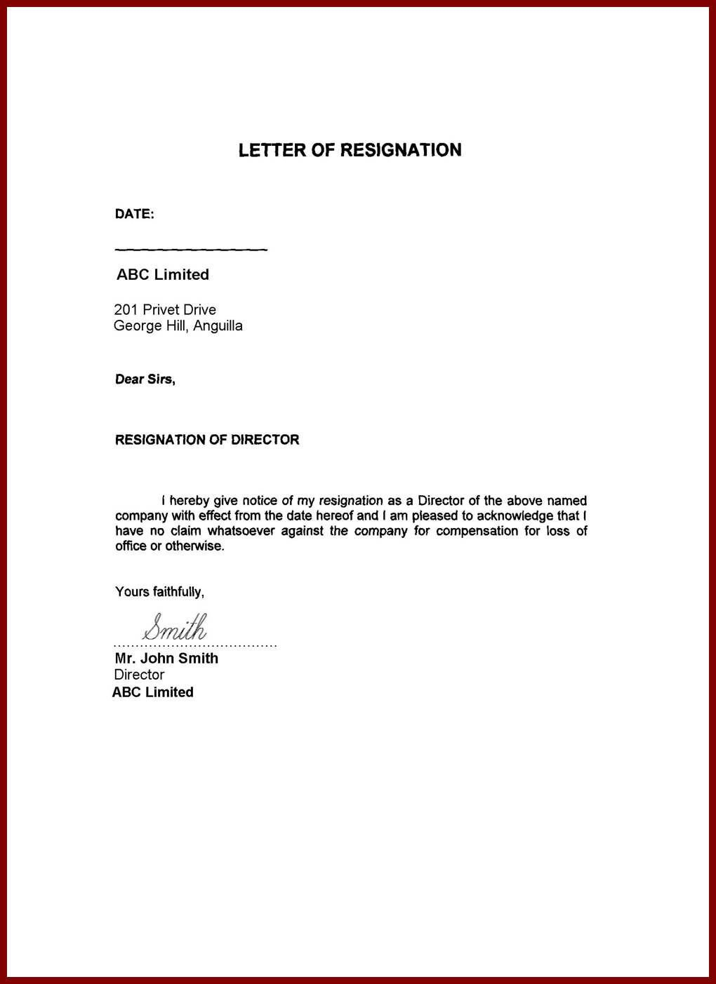 Letter Of Resignation Template Word Image Result for Resignation Letter Word format Family
