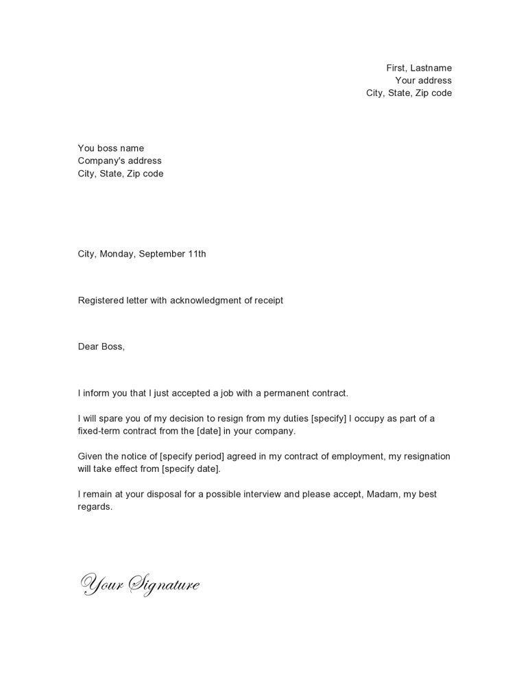 Letter Of Resignation Template Word Just Another Simple Resignation Letter Sample
