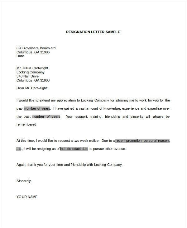 Letter Of Resignation Template Word Professional Resignation Letter Docx