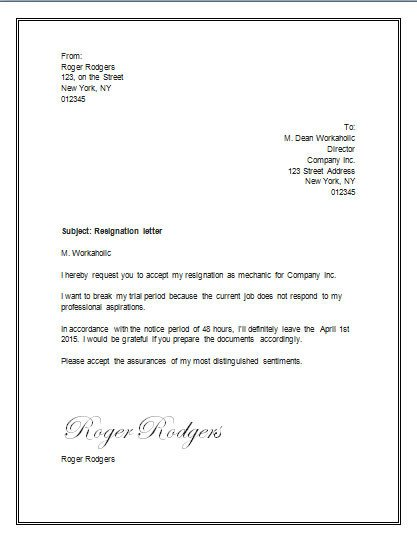 Letter Of Resignation Template Word Resignation Letter for A Trial Period – Resignation Letter