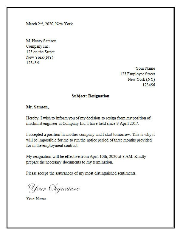 Letter Of Resignation Template Word Resignation Letter Template – Resignation Letter