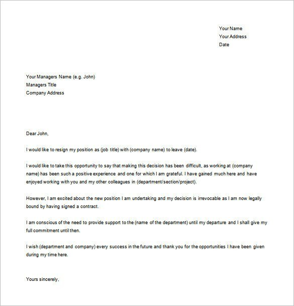 Letter Of Resignation Template Word Resignation Letter Templates 14 Free Sample Example