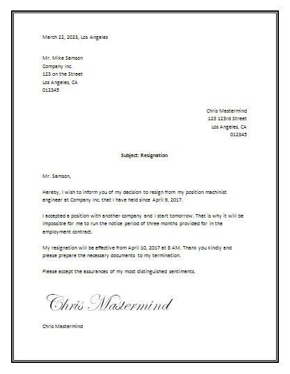 Letter Of Resignation Template Word Sample Resignation Letter Template Word