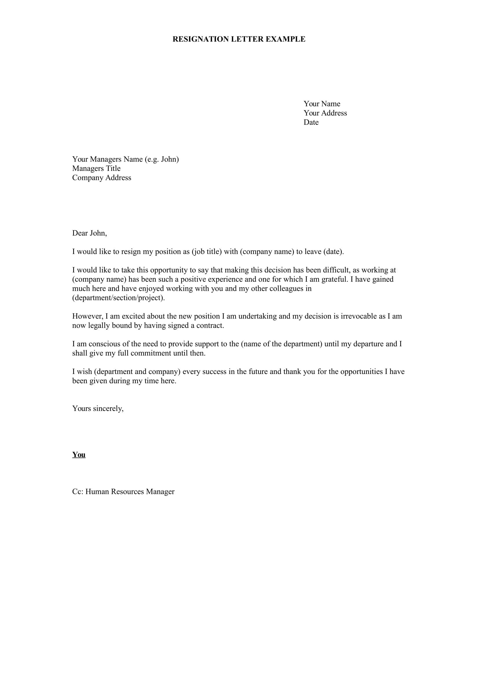 Letter Of Resignation Templates 17 Free Resignation Letter Pdf Doc