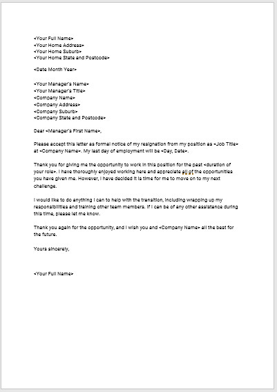 Letter Of Resignation Templates Download Seek S Free Standard Resignation Letter Template