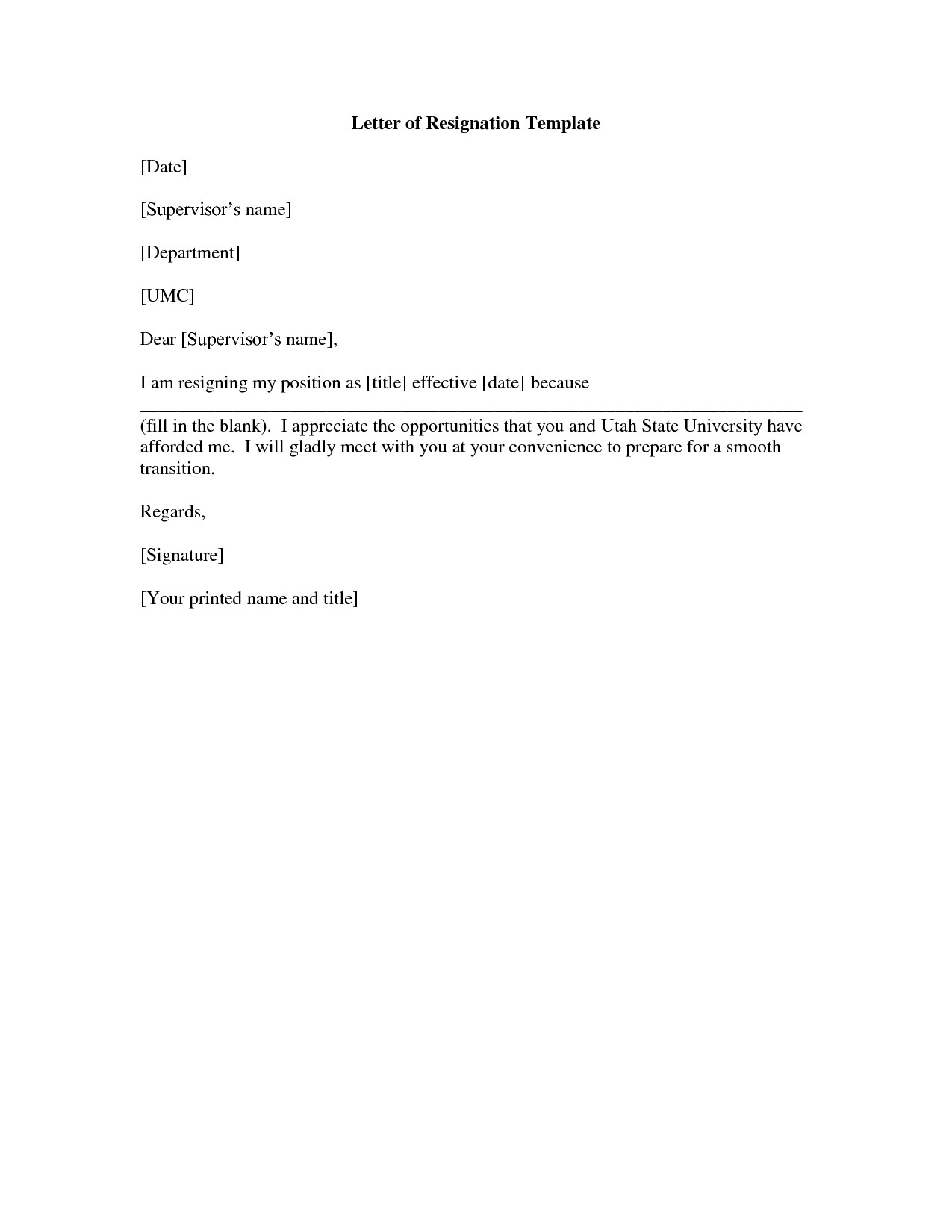 Letter Of Resignation Templates Free Printable Letter Of Resignation form Generic