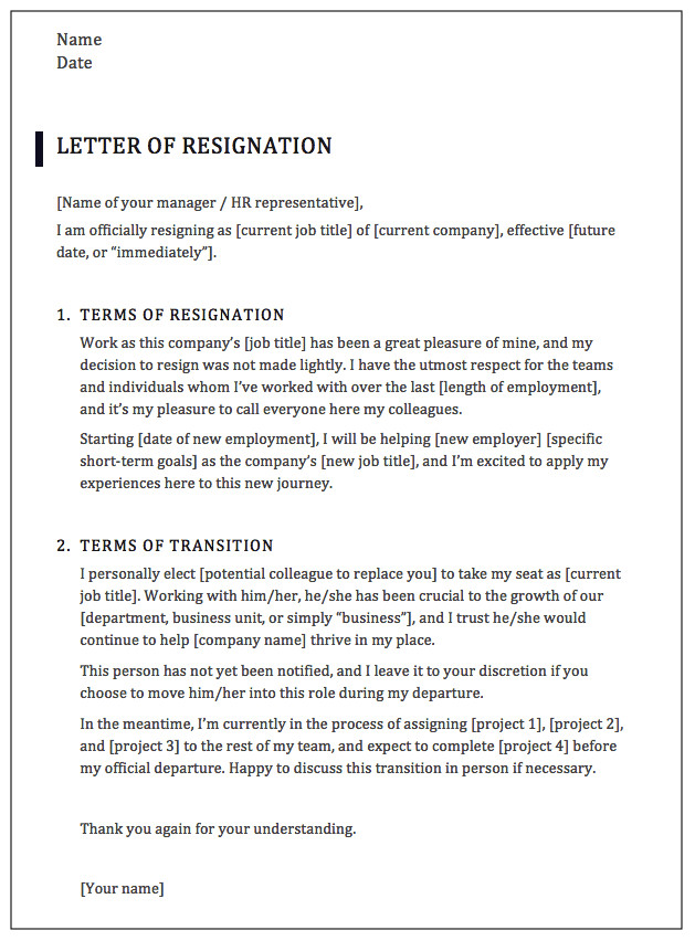 Letter Of Resignation Templates How to Write A Professional Resignation Letter [samples