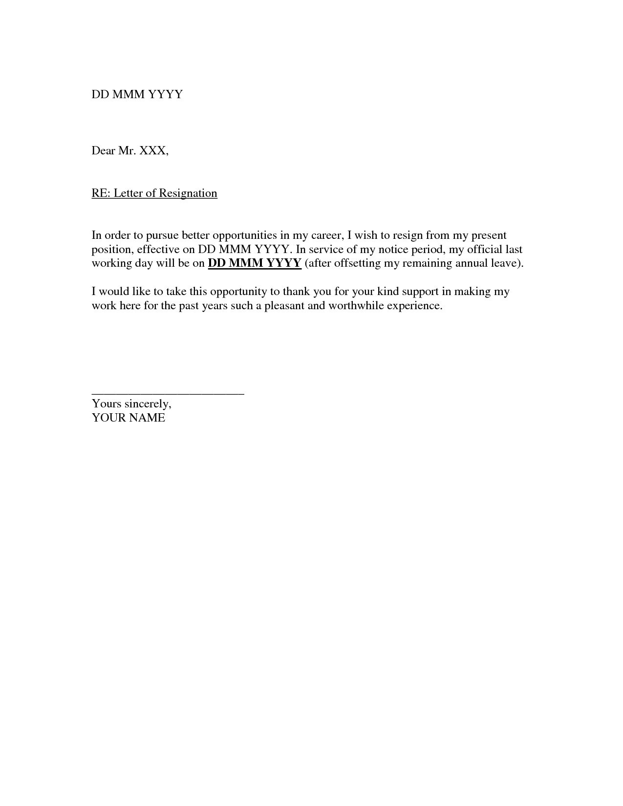 Letter Of Resignation Templates Related to Resignation Letter Template Letters Of