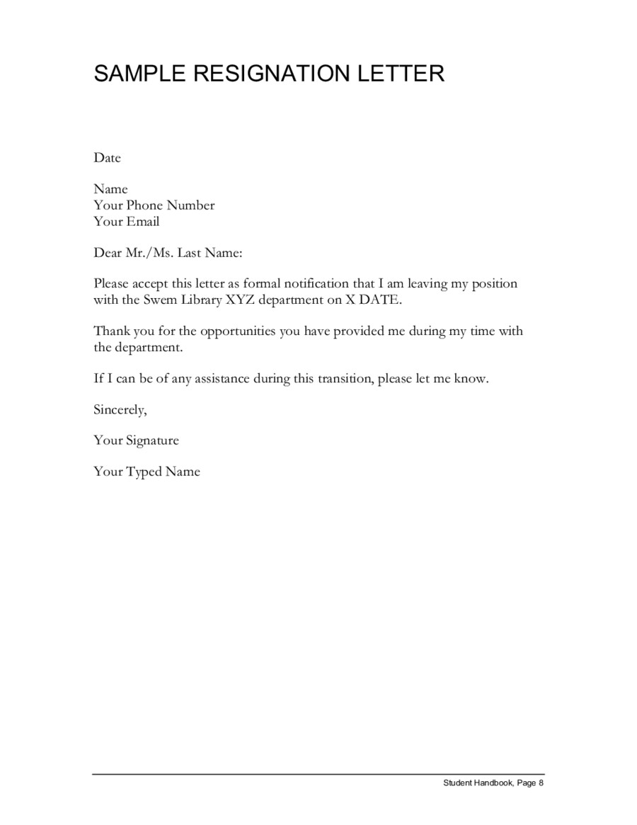 Letter Of Resignation Templates Sample Resignation Letter Simple Resignation Letter
