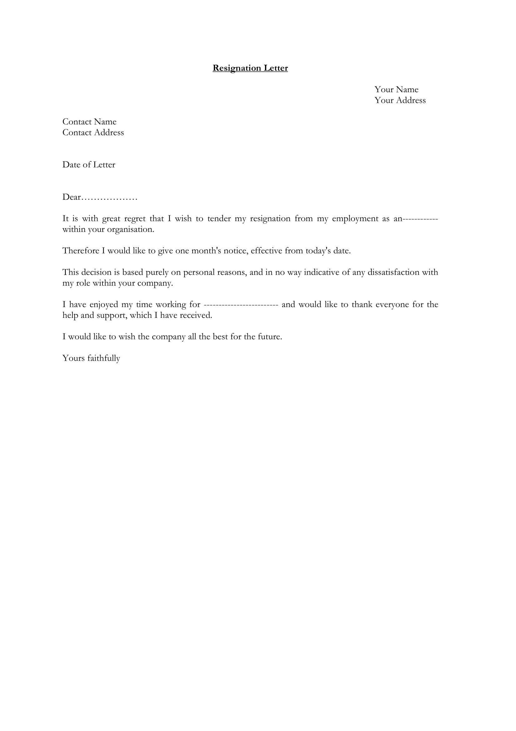 Letter Of Resignation Templates Word 35 Simple Resignation Letter Examples Pdf Word