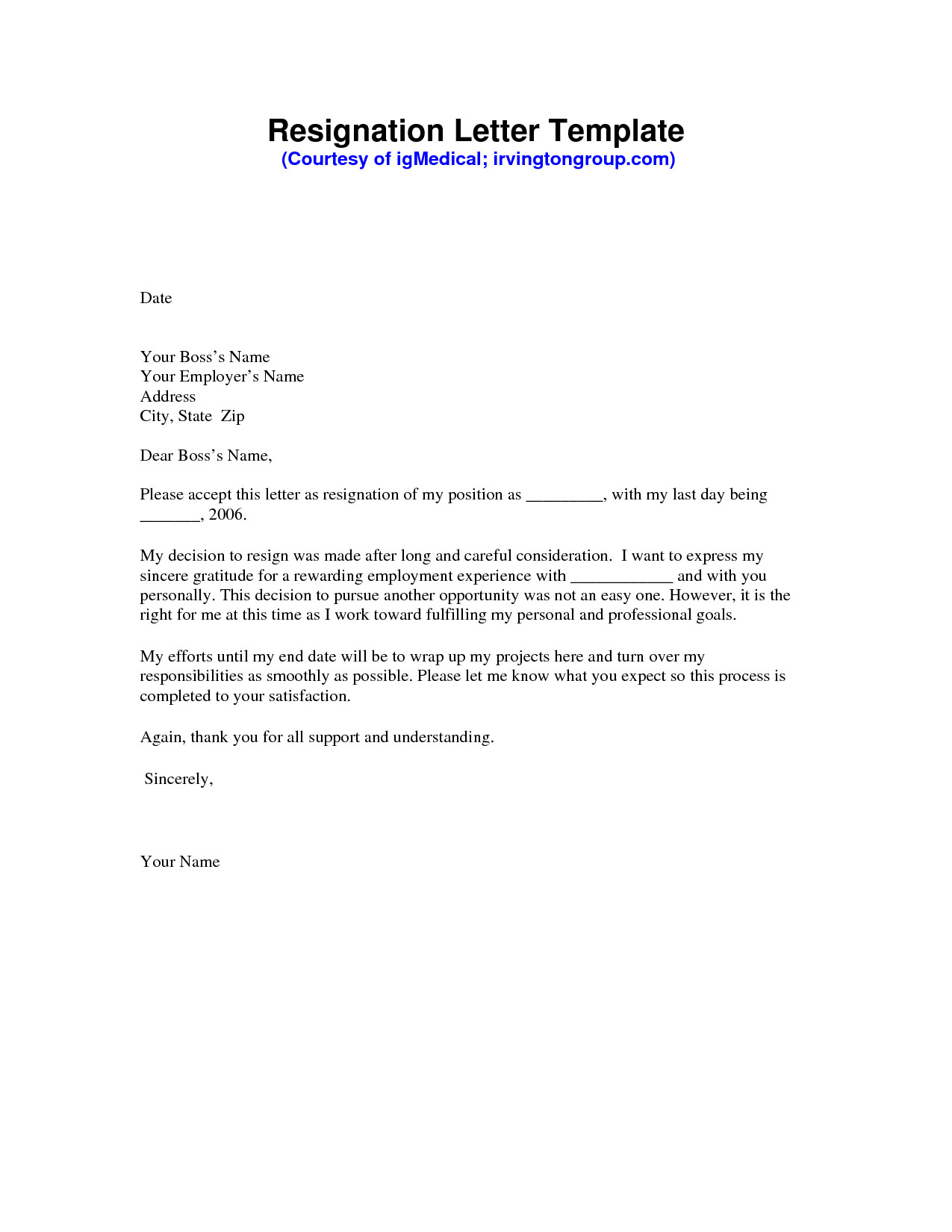Letter Of Resignation Templates Word Resignation Letter Sample Pdf