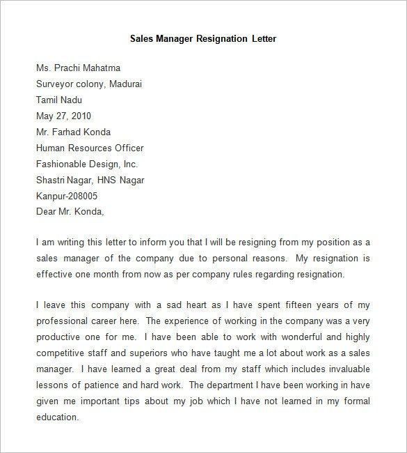 Letter Of Resignation Templates Word Resignation Letter Template 25 Free Word Pdf Documents