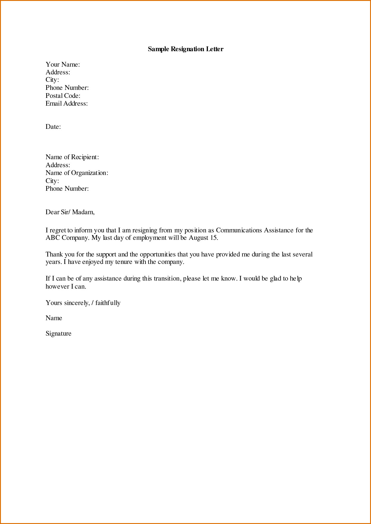 Letter Of Resignation Templates Word Sample Displaying 16 Images for Letter Of Resignation