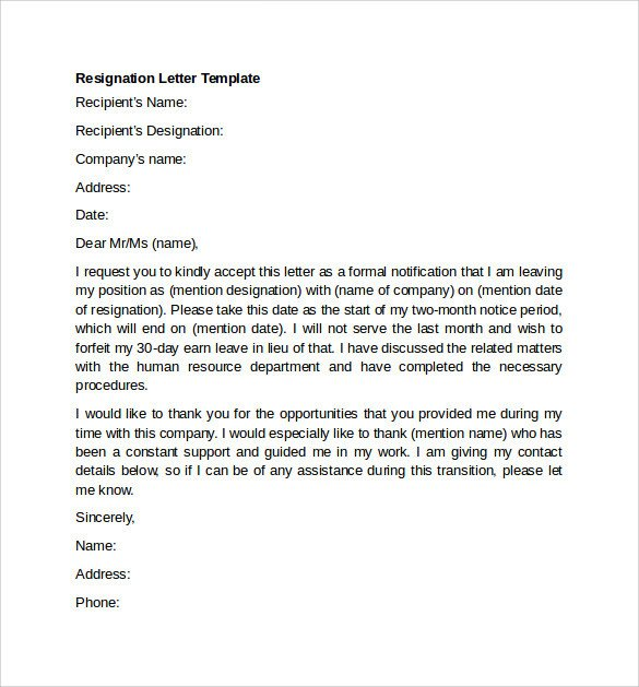 Letter Of Resignation Templates Word Sample Resignation Letter Example 10 Free Documents