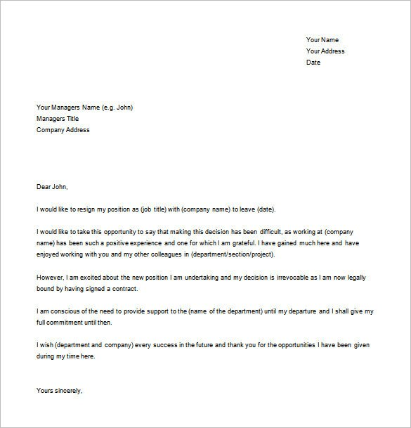 Letter Of Resignation Templates Word Simple Resignation Letter Template – 15 Free Word Excel
