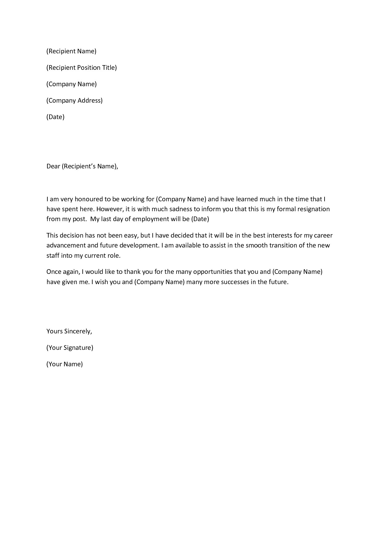 Letter Of Resignation Templates Writing A Heartfelt Resignation Letters In Pdf