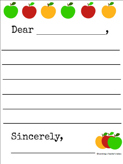 Letter Template for Kids Free Printable Apple themed Letter Writing Template